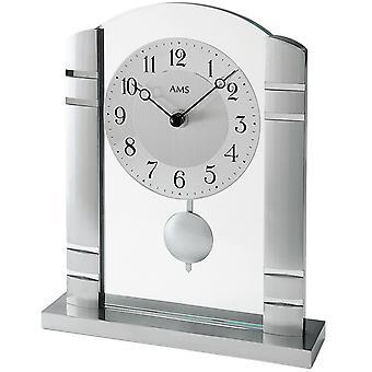 AMS 1118 Pöytäkello Kvartsi heiluri hopeametallilla alumiinilla ja lasilla