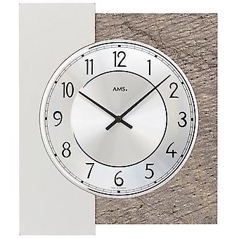 AMS 9580 wall clock quartz analog silver with natural stone edition