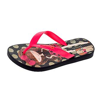 Ipanema Dotty Girls Beach Flip Flops / Sandálias - Preto e Rosa
