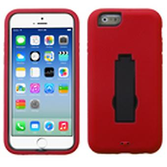 Asmyna Symbiosis Stand Protector Case for Apple iPhone 6/6S - Black/Red