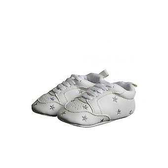 Modern White Christening Shoe With Gray Stars For Baby