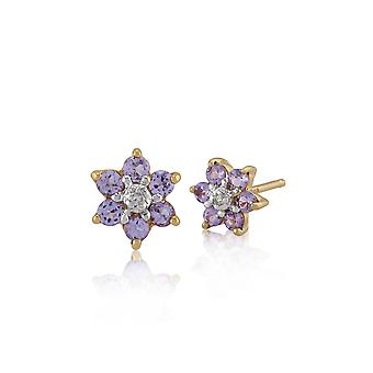 Floral Round Tanzanite & Diamond Cluster Stud Earrings in 9ct Yellow Gold 26933