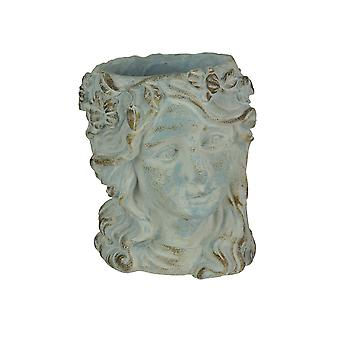 Weathered Blue-Gray Concrete Olive Wreath Roman Lady Head Planter 8 Inches High