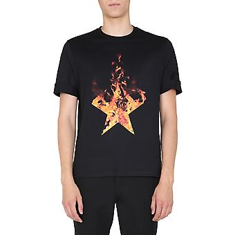 Neil Barrett Pbjt822sp540s2366 Men's Black Cotton T-shirt