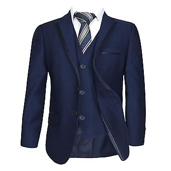 Boys Dark Navy Blue Piping Suit