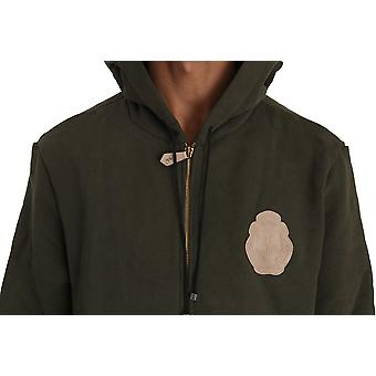 Billionaire Italian Couture Hooded Full Zip Green Cotton Mens Sweater