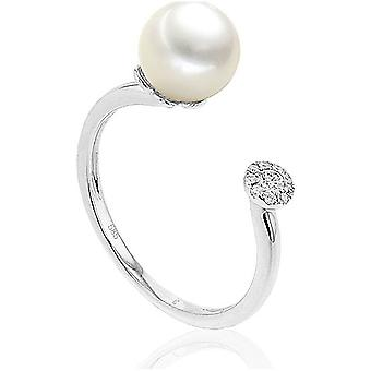 Luna-Pearls - Ring - Pearl Ring Brilliant - 585 White Gold - Ring Size 56 (17.8mm)