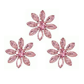 3 rosa Kristall Blume Broschen für Floristik oder Hochzeit Handwerk