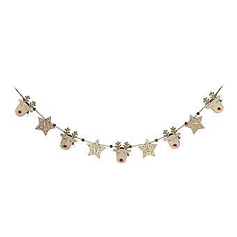 Wooden Reindeer and Star Garland Merry Xmas Christmas Decoration 1.2m