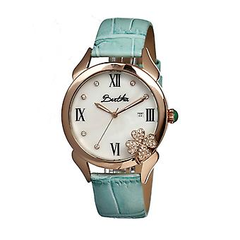 Bertha Clover MOP Leather-Band Ladies Watch - Rose Gold/Powder Blue