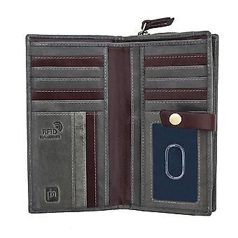 Primehide Stora Kvinnors Läder RFID blockering handväska plånbok korthållare 6882