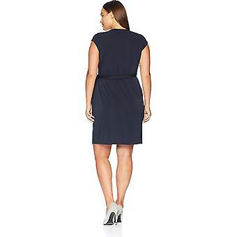 Lark & Ro Women's Plus Size Classic Cap Sleeve Wrap Dress, Navy, 2X