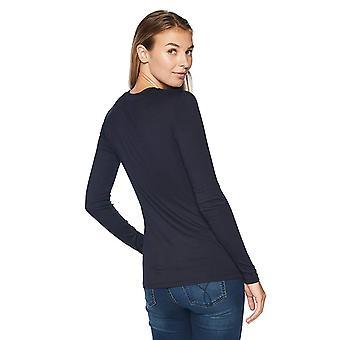 Brand - Lark & Ro Women's Long Sleeve Crewneck Shirt, Navy, Medium