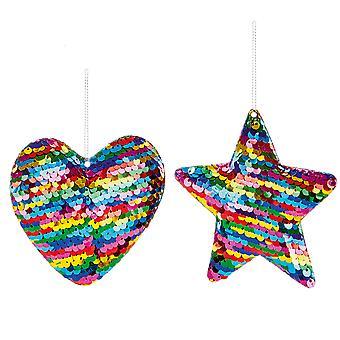 9cm Rainbow Sequin Heart of Star Kerstboom Home Decoratie