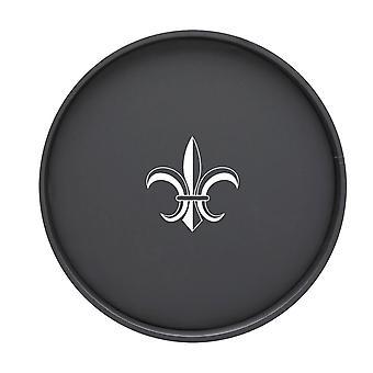 Kasualware 14 pouces Rond Plateau de service Noir Fleur De Lis