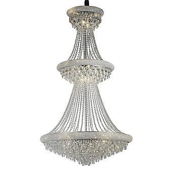 Geïnspireerde Diyas - Alexandra - Plafond Hanger Kroonluchter 3 Tier 29 Licht Gepolijst Chroom, Kristal