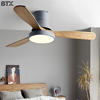 Wood Ceiling Fan With Light Led Modern Kitchen/ Restaurant/bedroom Nordic Low