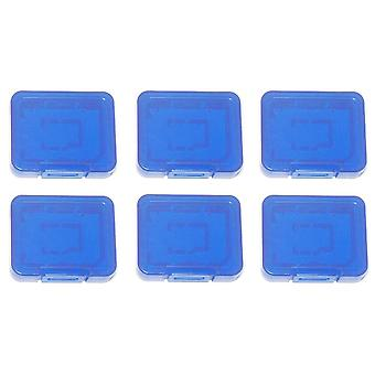 Pro tough plastic storage case holder covers for sd sdhc & micro sd memory cards - 6 pack blue