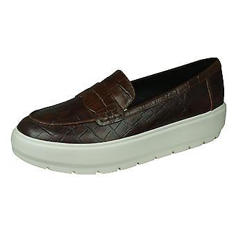 Geox D Kaula D Damen Leder Loafer / Schuhe - braun