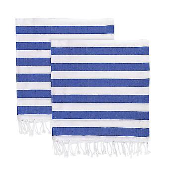 Nicola Spring 100% Turkish Cotton Towel Set | Beach Bath Gym Sauna - Blue Stripe - Pack of 2