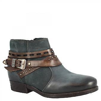 ليوناردو أحذية المرأة & apos أحذية الكاحل المصنوعة يدويا في العجل الأزرق الداكن والجلود جلد الغزال مع الرمز البريدي الجانب وحزام مشبك