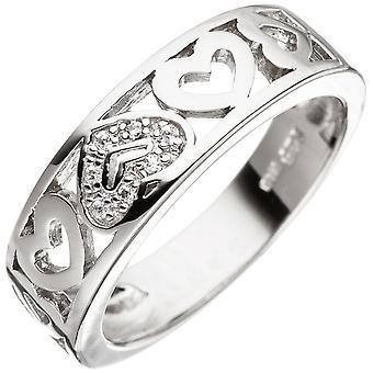 قلب الحلبة النسائية قلب 925 الاسترليني فضة مع زيركونيا الفضة خاتم
