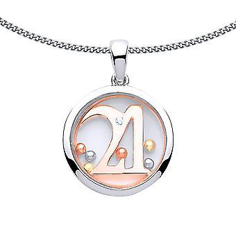 Jewelco London Damen Rose vergoldet Sterling Silber CZ schwimmende Perle 21 Geburtstag Anhänger Halskette 18 Zoll