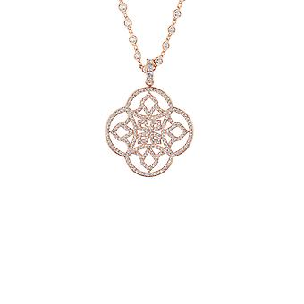 Big Pink White Celtic Knot Clover CZ Bridal Jewellery Rose Gold Necklace Pendant