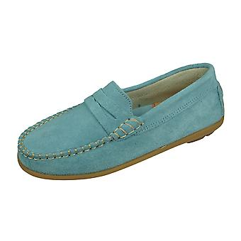 Angela Brown Hadley Kids Suede Leather Moccasins / Slip on Shoes - Bleu poudre