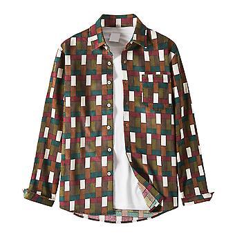 YANGFAN Men's Plaid Casual Shirt Button Down Long Sleeve Cotton Top