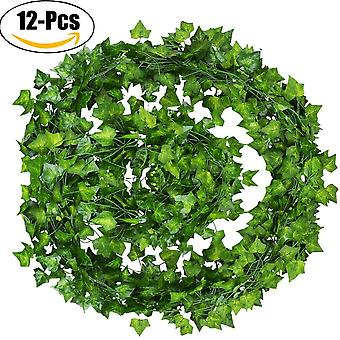 Pack Artificial Ivy Leaf Garland Plants Vine Hanging Wedding Garland English Ivy Home Kitchen Garden Office Wedding Wall Decor