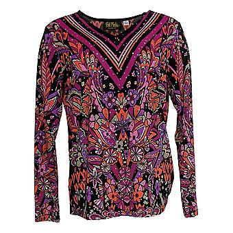 Bob Mackie Women's Top Floral Print Pullover W/ Embellishment Black A345600