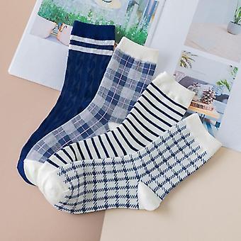 Plaid Stripe Crew Socks Set