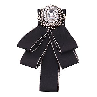Femmes Filles Rhinestone Brooch Pin Wedding Party Bow Tie Neck Tie Black