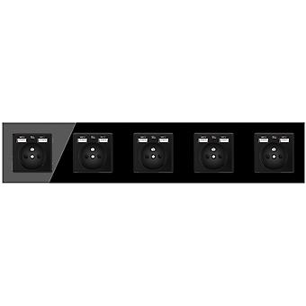 Glass Panel Five-slot Power Socket With Pins And 10 Usb Charging Port