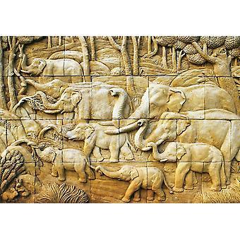 Fondo de pantalla Mural Elefante tallado en piedra