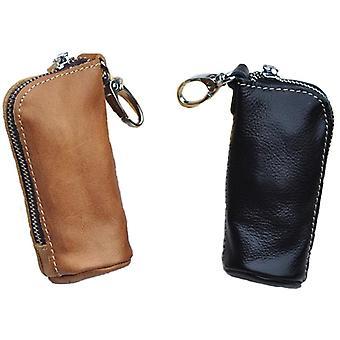 Männer Schlüsseltasche echte Kuh Leder Eimer Schlüsselkoffer Beutel / Reißverschluss Schlüsselanhänger