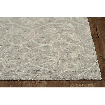 8' Grey Hand Tufted Space Dyed Floral Ogee Indoor Runner Rug