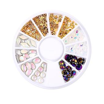 Rhinestone Gold Silver Mixed Crystal Studs Nail Beads