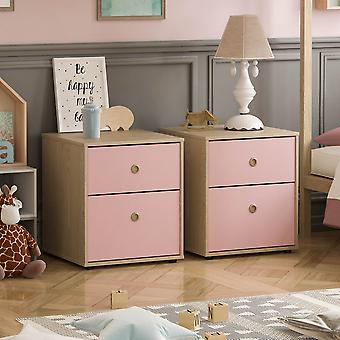 Neptune 2 Drawer Bedside Table Two-tone, Pink & Oak, Set of 2