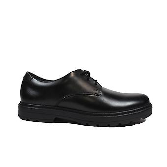 Clarks Loxham Derby Youth Black Leather Childrens Lace Up School Shoes