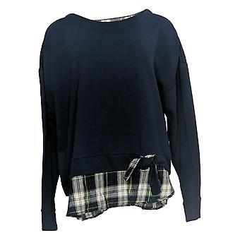IZOD Women's Sweatshirt XXL Under Shirt Hem Bottom Side Tie Detail Blue