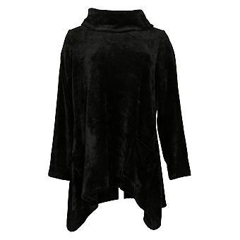 LOGO By Lori Goldstein Women's Sweater Plus Chenille Black A389753