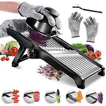 Masthome Adjustable Mandoline Slicer with Cut Proof Gloves Stainless Steel Food Julienne Slicer