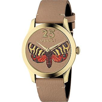 Gucci Ya1264063 G-timeless Tan Butterfly Dial Ladies Leather Watch