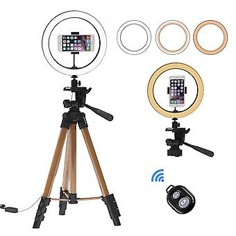 10 Inch Selfie Ring Light With 130cm Tripod Stand Phone Holder Makeup Live