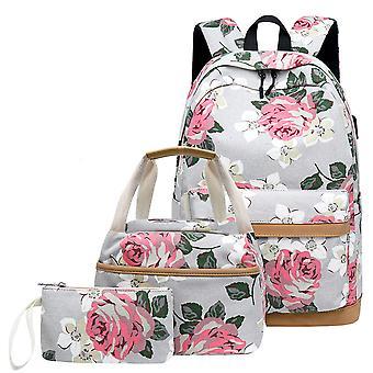 ثلاث قطع المطبوعة حقيبة ظهر USB حقيبة ظهر طالب قماش حقيبة المدرسة قماش