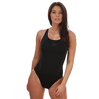 Costume da bagno Speedo Boomstar Splice Flyback da donna in nero