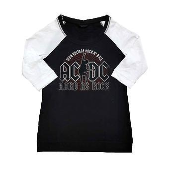 AC/DC T-paita Hard As Rock Band Logo Virallinen Musta Raglan 3/4 Hiha Naiset