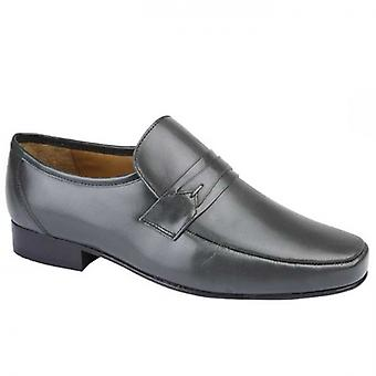 Kensington Thad Mens Smooth Leather Loafers Grey